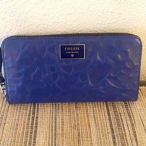 Fossil Large Blue Floral Imprint Wallet